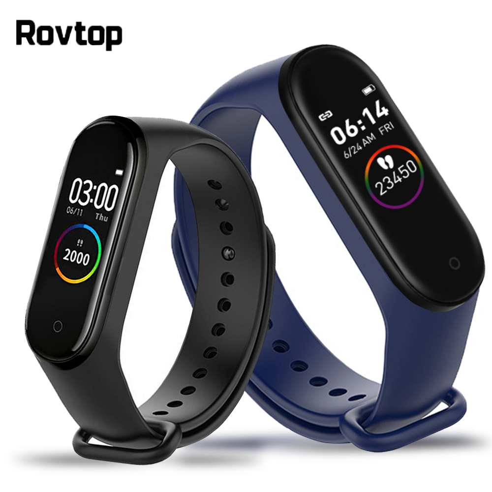 Rovtop M4 Smart Watch Smart Wristband 4 Waterproof Watch Blood Pressure Heart Rate Monitor Fitness Tracker Smartwatch Bracelet