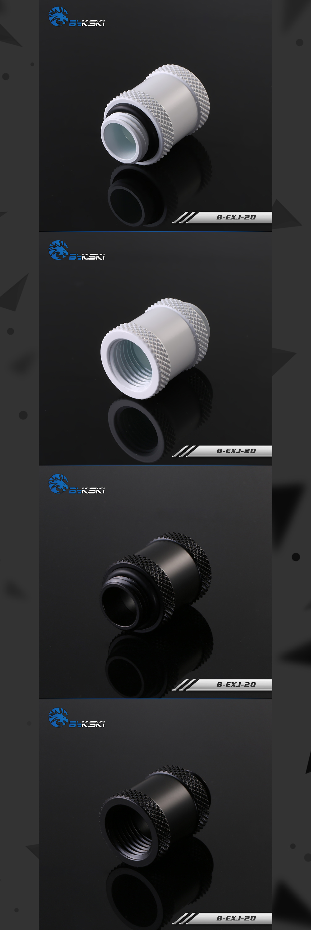 Bykski B-EXJ-20, 20mm Male To Female Extender Fittings, Boutique Diamond Pattern, Multiple Color G1/4 Male To Female Fittings