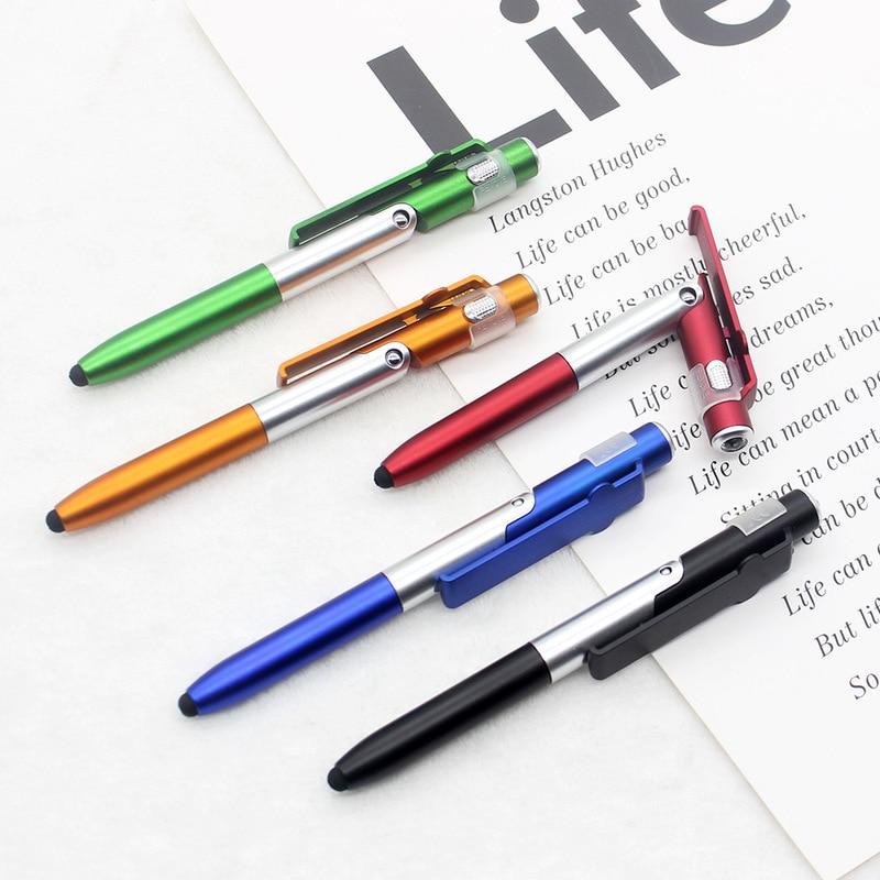 1 шт. 4 In1 шариковая ручка складной мобильный телефон держатель/светодиодный светильник/сенсорный емкостный сенсорный экран Экран шариковая...