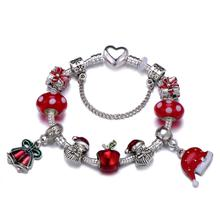 Christmas Tree Santa Claus Charm Bracelet With Red Murano Glass Apple Gift Box Beads Bracelet For Women Christmas Jewelry Gift 1pc cute santa clap bracelet elk bracelet for kids christmas gift toys cute santa claus clap bracelet bracelet christmas gift