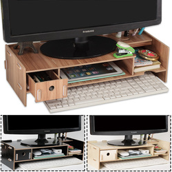 Wooden Monitor Laptop Stand Holder Riser Computer Desk Organizer Keyboard Mouse Storage Slots for Office Supplies School Teacher