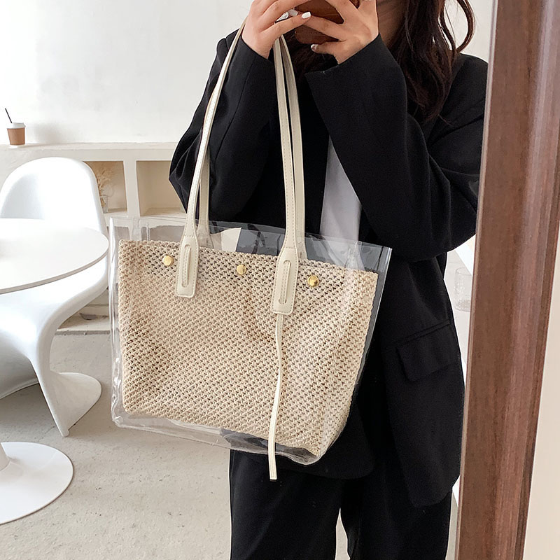 Fashion Straw Travel Bags with Leather Strap.