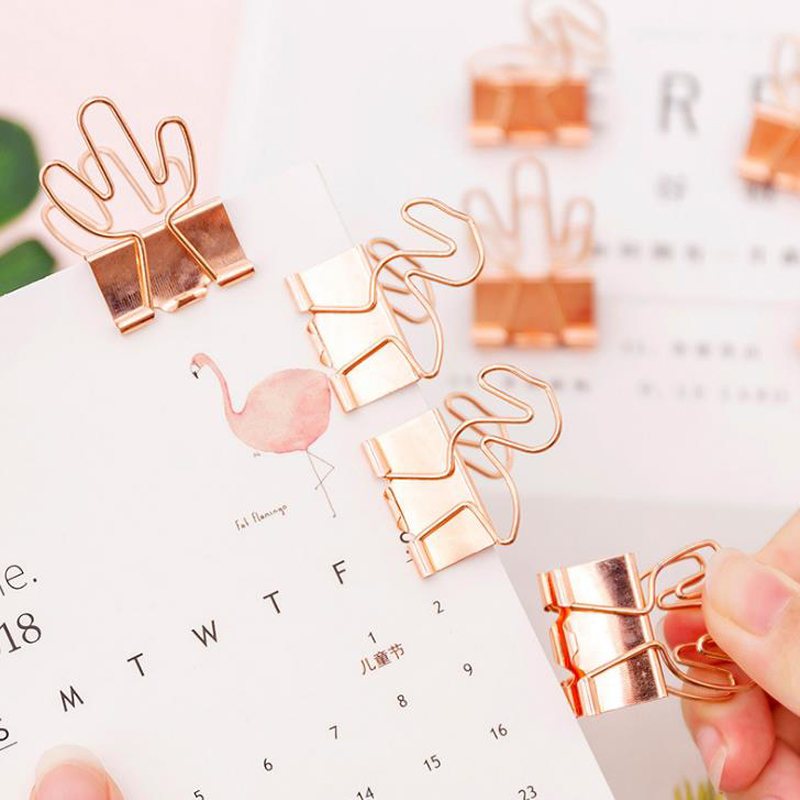 4 Pcs/pack Cute Rose Gold Flamingo Cactus Metal Clips File Paper Photo Memo Clip Binder Organizer Stationery Office School Gift