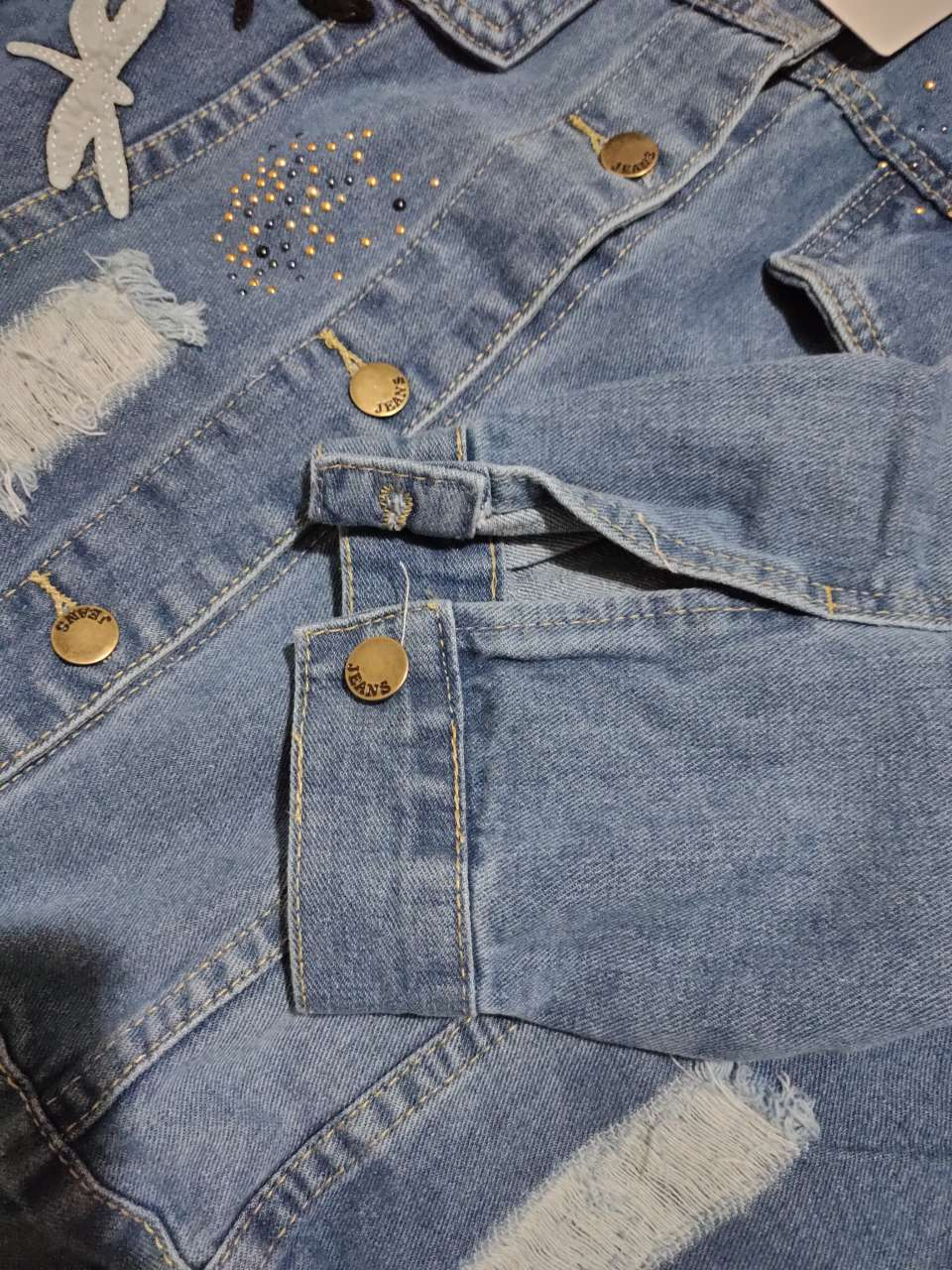 Embroidery Pattern Lapel Loose Denim Jacket 9