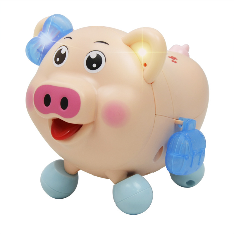 New Style Electric Light Music Dancing Small Adorable Pig CHILDREN'S Toy Universal Shining Leash Pigskin Animal Model