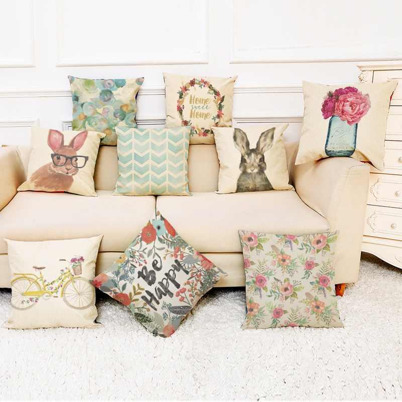 Panas Kepribadian Kreatif Hewan Gambar Bunga Katun dan Linen Sarung Bantal Mobil Sofa Bantal Kursi Penutup Pinggang Dekorasi Rumah