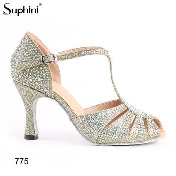 Green Glitter Latin Dancing Shoes Women's Professional Salsa Ballroom Dancing Shoes 8CM Height Heel Free Shipping