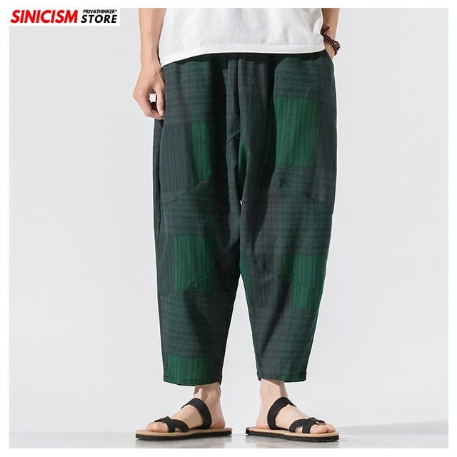 Sinicism Store Men Patchwork Harem Pants Mens Breathable 2020 Chinese Style Loose Joggers Male Summer Pants Oversize Bottoms 14