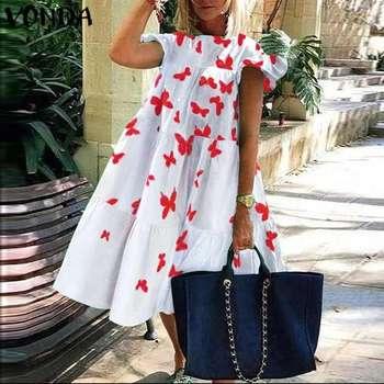 Vestido veraniego bohemio de mujer, vestido estampado 2020 VONDA, Vintage, de manga corta, con volantes, Minivestido de fiesta, Vestidos casuales