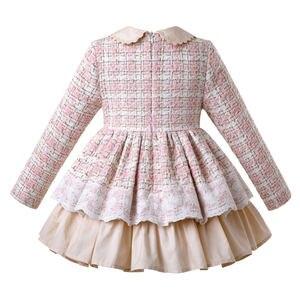 Image 2 - Pettigirl Neue Spitze Winter Mädchen Kleider Flauschigen Prinzessin Kleid Mädchen Elegante Tweed Geburtstag Kinder Kleidung Boutique