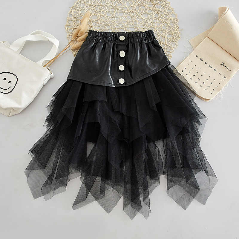 Spring Autumn girls tutu skirt baby PU skirt kids skirt children streetwear bottoms irregular layered mesh snap 2 to 14 yrs