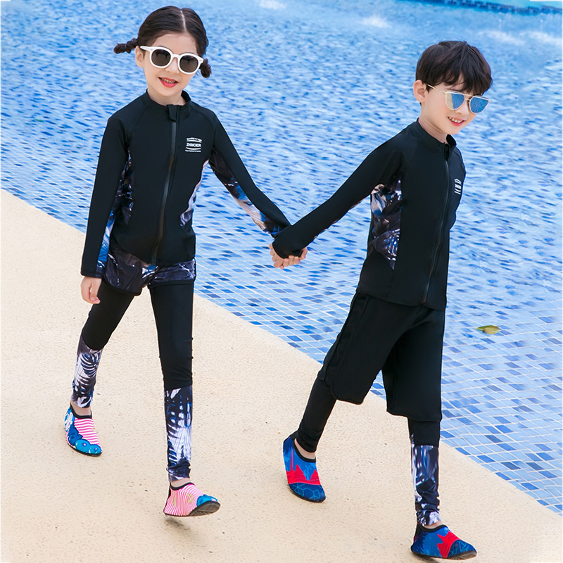 2019 New Style Children Diving Suit Split Type Sun Blocking Swimsuit Big Boy Diving Waterproof Mother Tops Shorts Trousers