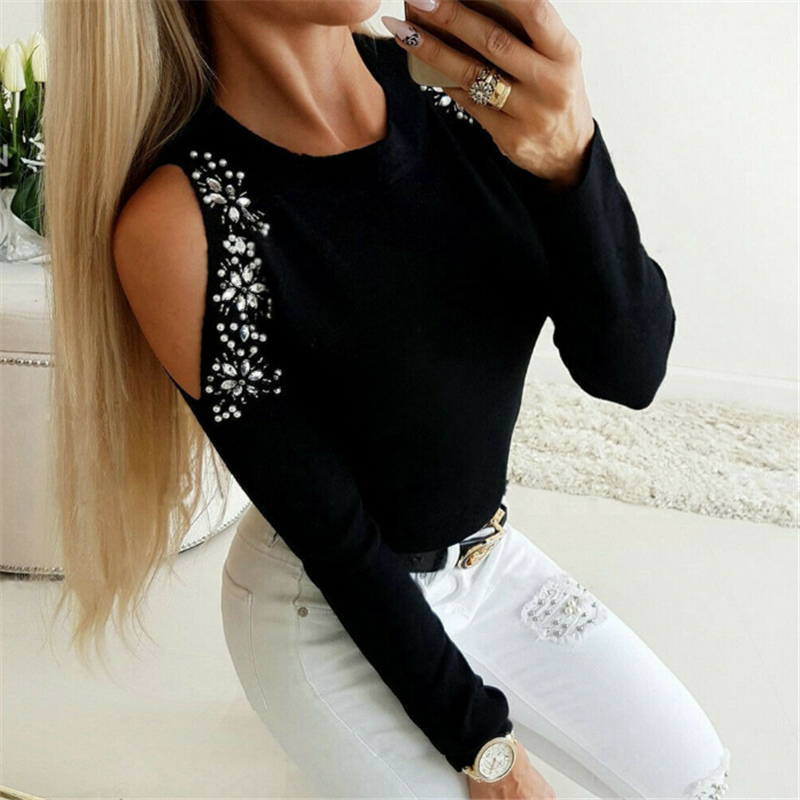 2020 Fashion Rhinestone Women Casual Sweaters Sexy Off Shoulder Long Sleeve Knitted O Neck Pullover Tops Sudaderas Mujer
