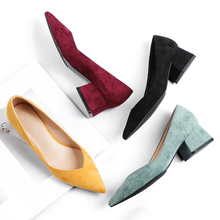 Мода высокий каблук Обувь женщина желтый, красный вино весной новый замши наконечник работа обувной черный каблуки женщины туфли на каблуке