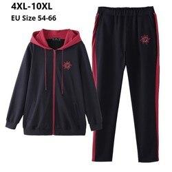 Плюс размер 10XL 8XL 6XL 4XL, Российские размеры 66 62 58 54, с длинными рукавами Femme весенне-осенний спортивный костюм женские толстовки Топ и штаны жен...
