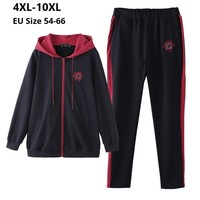 Plus Size 10XL 8XL 6XL 4XL Long Sleeves Femme Spring Autumn Tracksuit Female Hoodies Top And Pants Womens Two Pieces Sport Sets