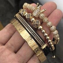 Heißer Verkauf Klassische Handgemachte Flechten Armband Gold Hip Hop Männer Pflastern CZ Zirkon Crown Römischen Ziffer Armband Luxus Schmuck