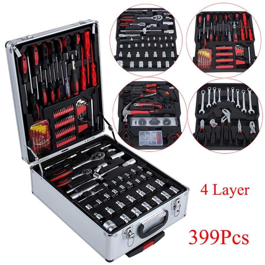 399pcs Hand Tool Set with 2pcs Castors Aluminum Trolley Case Mechanics Kit Box Organize Castors Toolbox Trolley DIY Tool Set