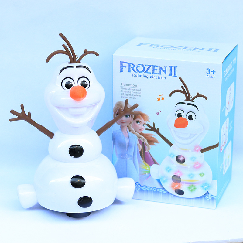 Disney Frozen 2 Dancing Snowman Olaf Robot With Led Music Flashlight Electric Action Figure Model Kids Toy For Children Gift