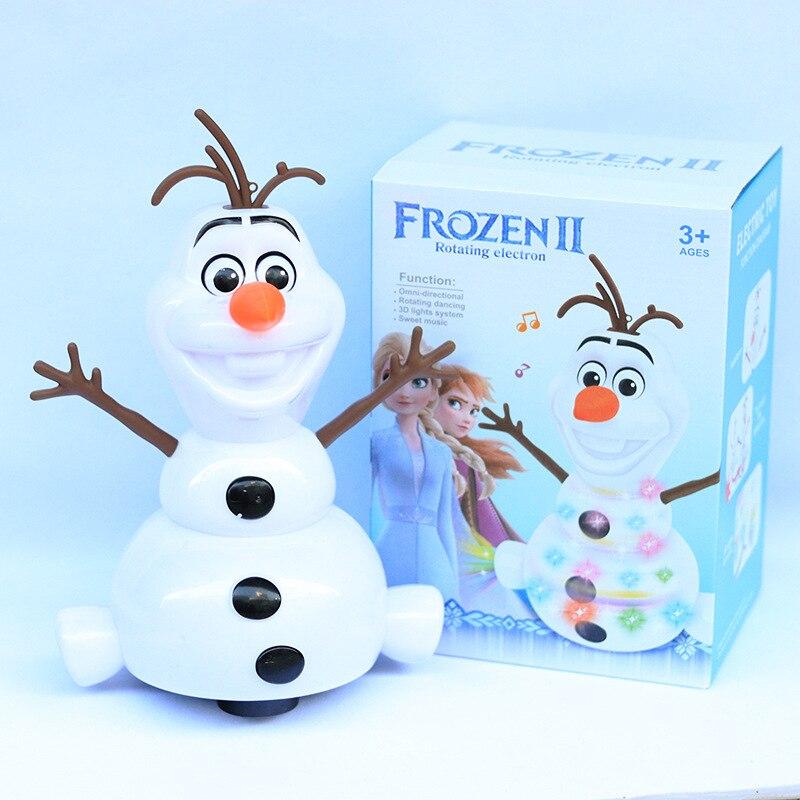 Disney congelé 2 danse bonhomme de neige Olaf Robot avec Led musique lampe de poche électrique figurine modèle enfants jouet pour enfants cadeau