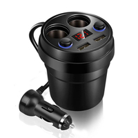New Car Charger Cup LED Display Charging Power Adapter with 2 USB Ports and 2 Cigarette Lighters Plug For GPS DVR phone Charge|car plug adapter|car cigarette power adaptercar lighter adapter -