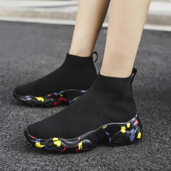 MWY Breathable Ankle Boot Women Socks Shoes Female Sneakers Casual Elasticity Wedge Platform Shoes zapatillas Mujer Soft Sole 21