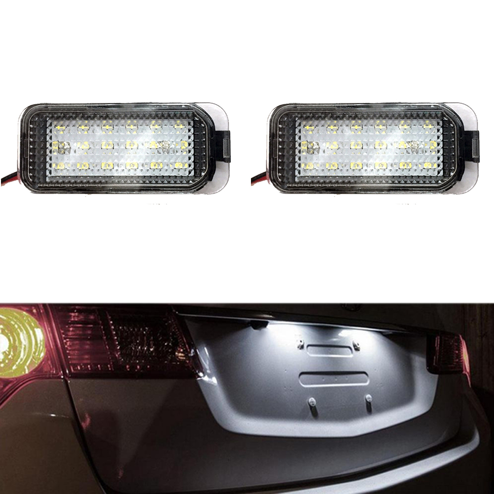 1 Pair Error free LED License Number Plate Lights For Ford Galaxy Focus Kuga C-MAX Car Accessories