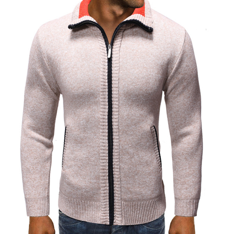 Men Sweater Men's Zip Cardigan Sweater Men's Stand Collar Sweater Blusa Moletom Masculino Men Cardigan Long Sleeve Men Clothes