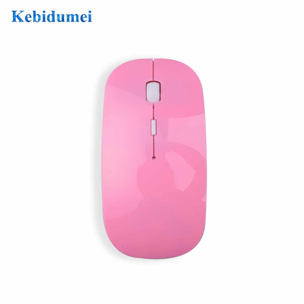 Kebidumei Ultra Tipis 2.4 GHz Optical USB Wireless Mouse Gaming Slim Receiver Komputer untuk Apple Mac Laptop Power Switch Tikus