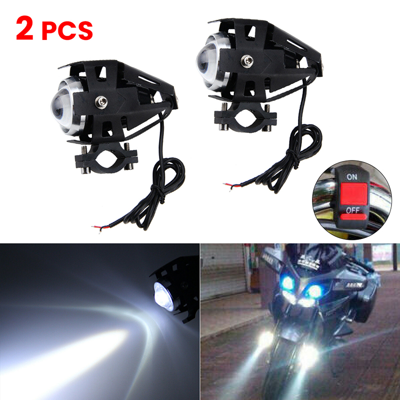 2PCS Motorcycle Headlight U5 125w LED Driving DRL 4 Color Car Fog Light Moto Spotlight Motorbike Head Light Spot Lamp