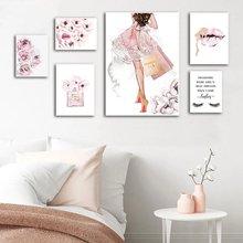 Модный постер с розовыми цветами и духами принт для макияжа