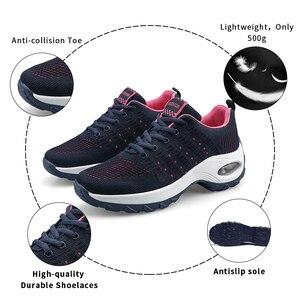Image 4 - Mulheres sapatos esportivos almofada de ar tênis respirável mulher tênis caminhada ao ar livre jogging formadores voando tecelagem lazer