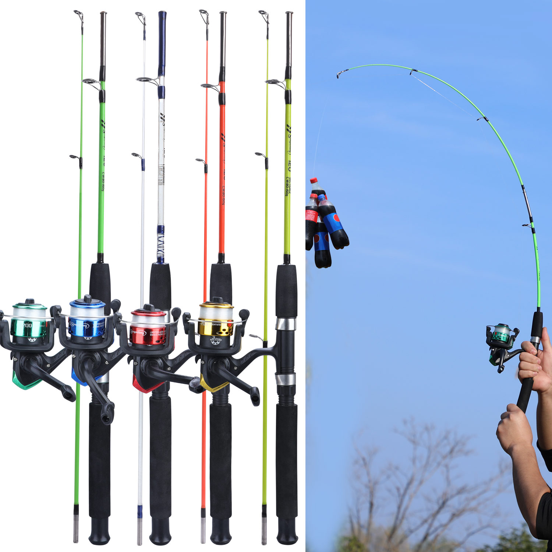 Sougayilang 4 Color 120cm Spining Fishing Combo 2 Section EVA Handle Ultralight Resin Body Rod And 3BB Fishing Reel Fishing Set