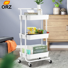 ORZ 3 Tier Storage Organizer Rack Metal Rolling Wheels Trolley Cart Basket Storage Holder Basket Bookshelf For Bedroom Bathroom