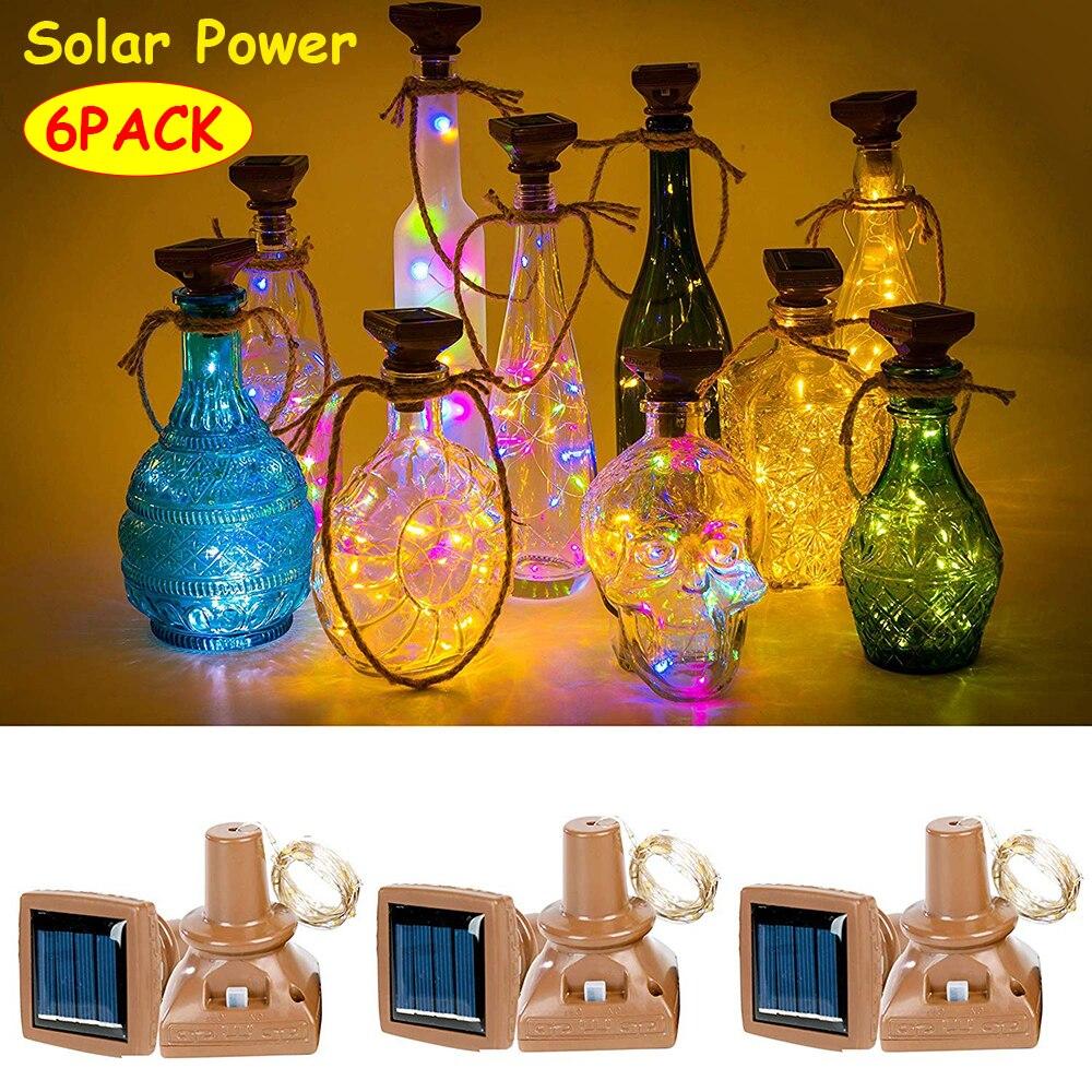 6 Pack 2M/6.6ft 20LEDs Solar String Light Wine Bottle Lights Waterproof  Copper Cork Shaped Lights Fairy Light D30