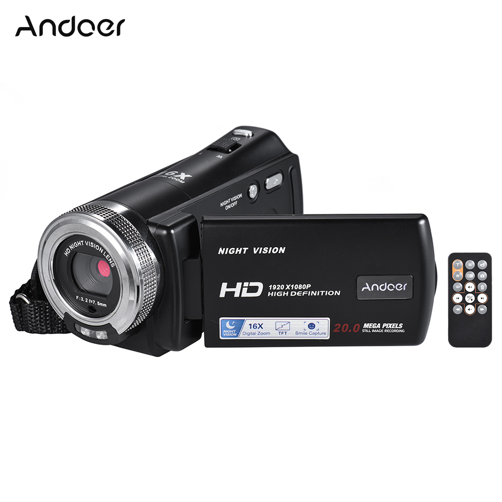 Andoer 1080P Full HD Recording Video Camera Professional Video Camcorder 3.0 LCD Screen Rotatable Night Vision Face Detection
