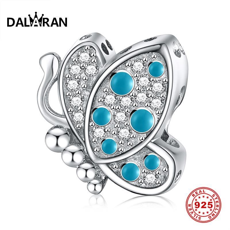 DALARAN 925 Sterling Silver Butterfly Clear CZ Silver Charms 925 Fit Original Pandora Bracelet Making Fine Women Jewelry Gift