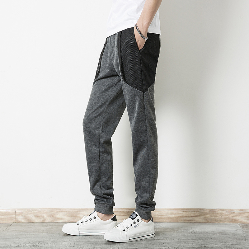 Autumn And Winter Popular Brand Solid Color Ankle Banded Pants Hip Hop Joint Hong Kong Style Gauze Slim Fit Skinny Pants Casual