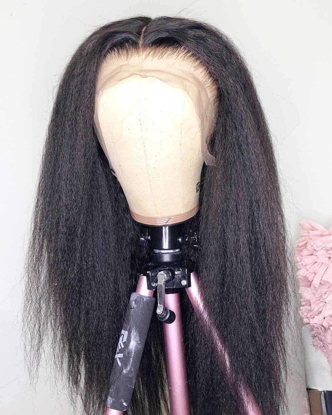 13 × 6 深部変態ストレートレースフロント人間イタリア焼き Remy 毛 Preplucked かつらフル女性用黒
