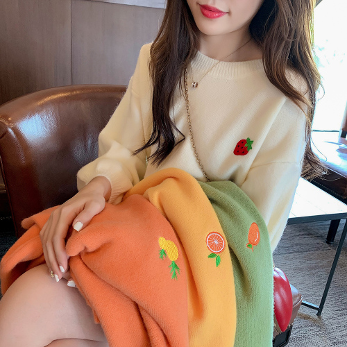 4 Color Kawaii Strawberry Embroidery Christmas Women Sweater Autumn New Female Long Sleeve Pullover Loose Korean Knit Tops