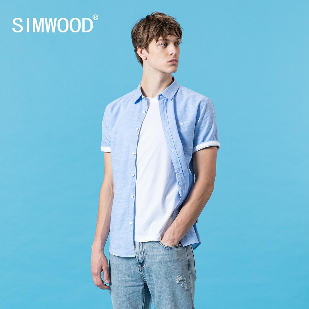 SIMWOOD 2020 Summer New Short Sleeve Cotton Linen Shirts Men Breathable Casual Solid Comfortable Plus Size Shirts SJ110528