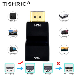 TISHRIC Original Mini HDMI to VGA Adapter/Converter/Splitter/Extender 4K HD Display Port to HDMI For PC Laptop Tablet HDMI Cable(China)