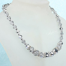 Free Shipping!Wholesale 5pcs/lot Handmade Crystal Glass Faceted Beads Necklace With Magnetic Clasp 19 206