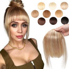 MRSHAIR тупым срезом челки волос натуральные человеческие волосы для наращивания 3 зажимы в Ombre Человеческие волосы Накладные челки 2,5