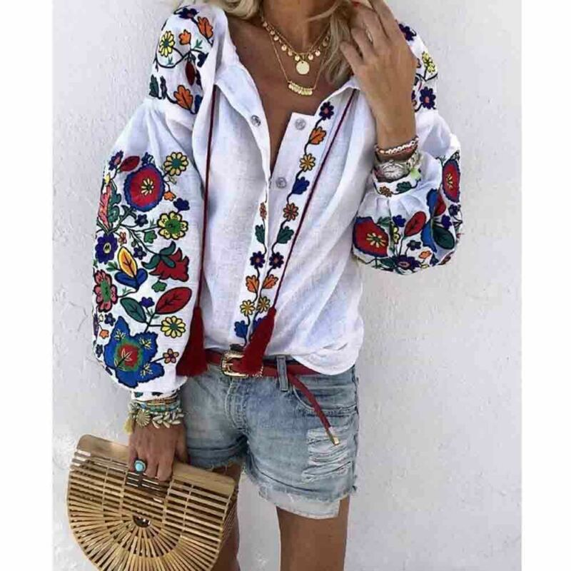 Women Casual Flower Cotton Linen Button Long Lantern Sleeve Shirt Blouse Tunic Tops Holiday Beach Wear National Feature Blouses