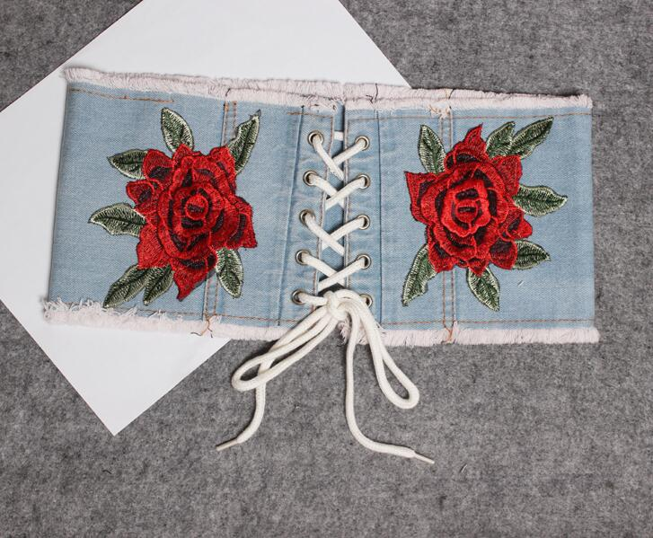 Women's Runway Fashion Flower Embroidery Denim Cummerbunds Female Dress Corsets Waistband Belts Decoration Wide Belt R1857