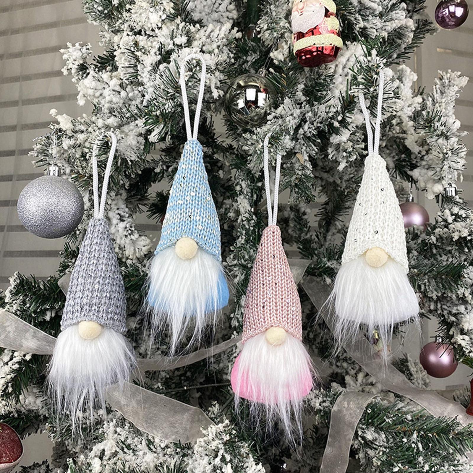 Рождественский колокольчик гном Санта вязаная плюшевая кукла Рождественская елка подвесная кукла без лица новогодний Рождественский дома...