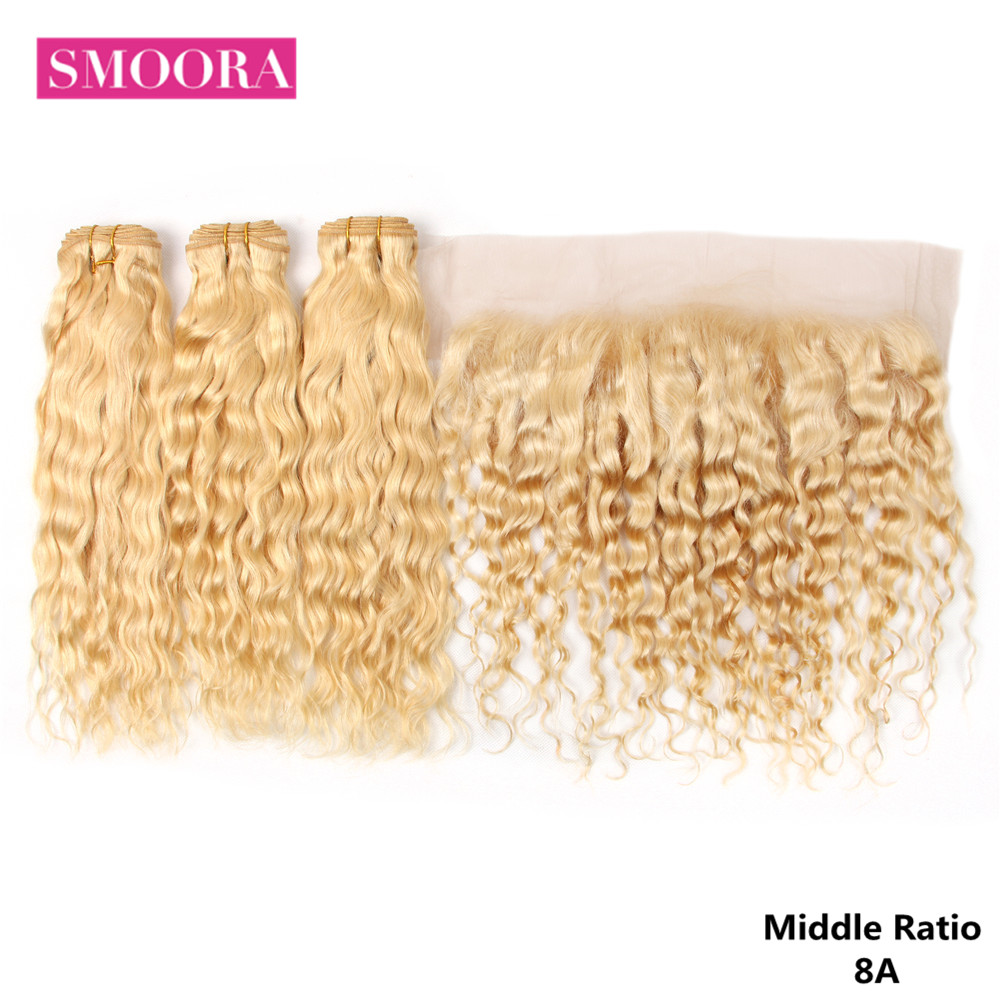 Smoora Brazilian Water Wave 613 Blonde Bundles With Frotnal Ear To Ear 3 Pieces Human Hair Bundles With Lace Frontal Remy Hair
