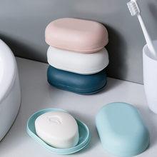 Plástico banheiro chuveiro caixa de sabão bandeja prato de armazenamento titular casa viagem rangement salle de bain sabão titular boite savon