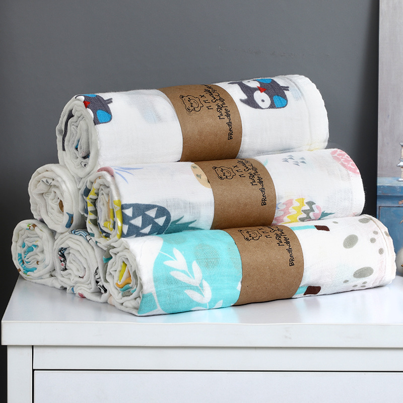 Double Gauze Wrap Towel Baby Bath Towel Baby Stroller Cover Blanket Newborn Wrap Towel